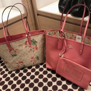 Coach City Tote with Floral Print in Rose Petal